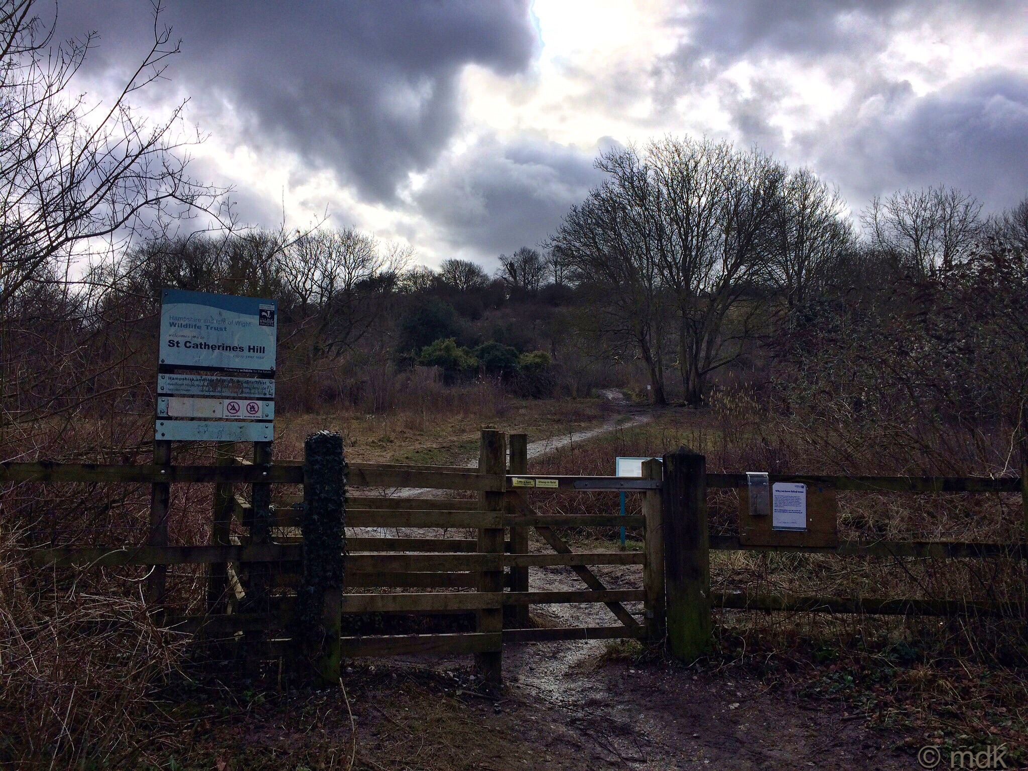 The trail up St Catherine's Hill