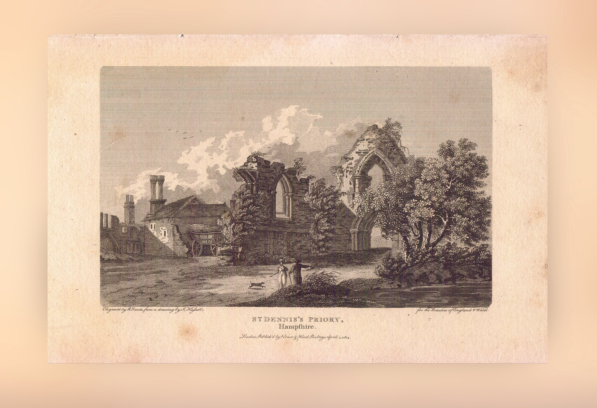 St Denys Priory Engraved by R Sands from a drawing by J Halsell