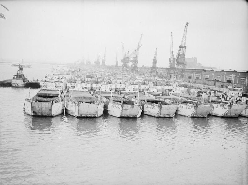Landing craft awaiting departure for D- Day in Southampton
