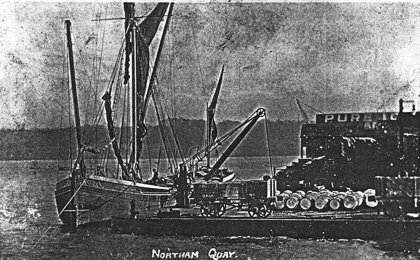 The coal barges on Northam Quay from Wikimedia Commons