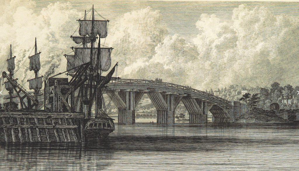 The original wooden bridge